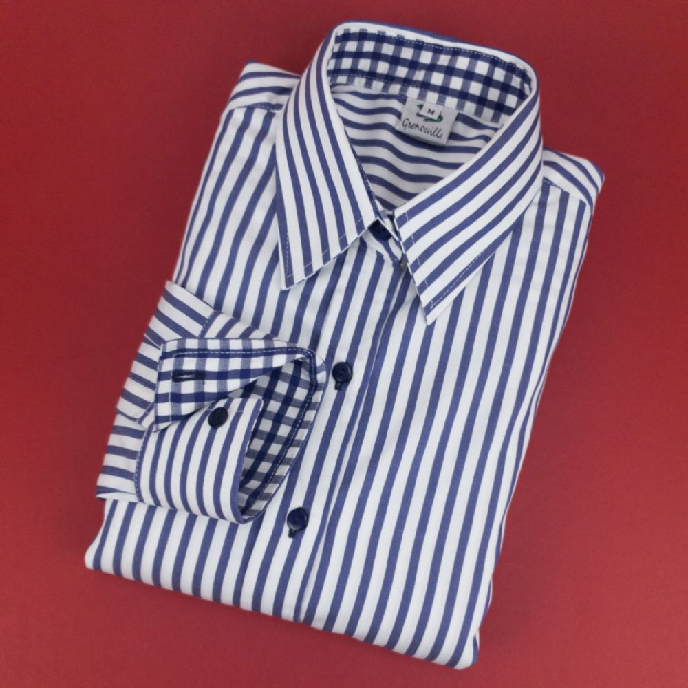 Grenouille Ladies Long Sleeve Navy Stripe Cotton Twill Shirt
